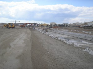 Travaux de construction du canal de drainage