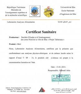certificat sanitaire modif