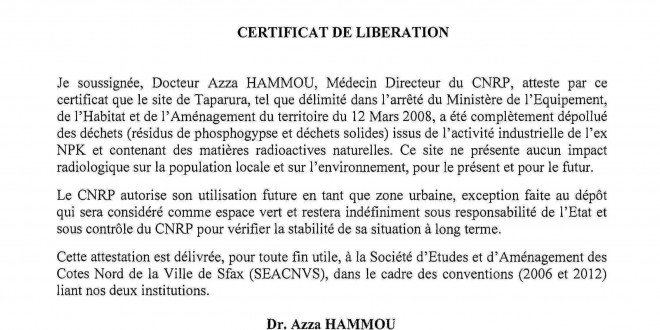 Certificate of Liberation