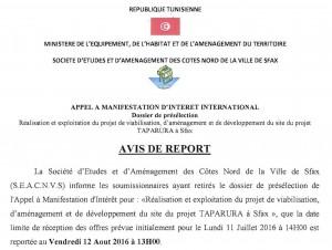 AVIS DE REPORT FR